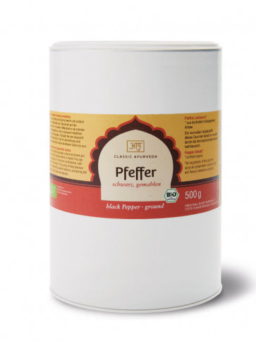 Pepper (black, ground) organic 500 g by Classic Ayurveda